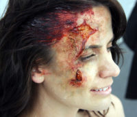 Beaten with a bat makeup for the series 'Rizzoli and Isles'