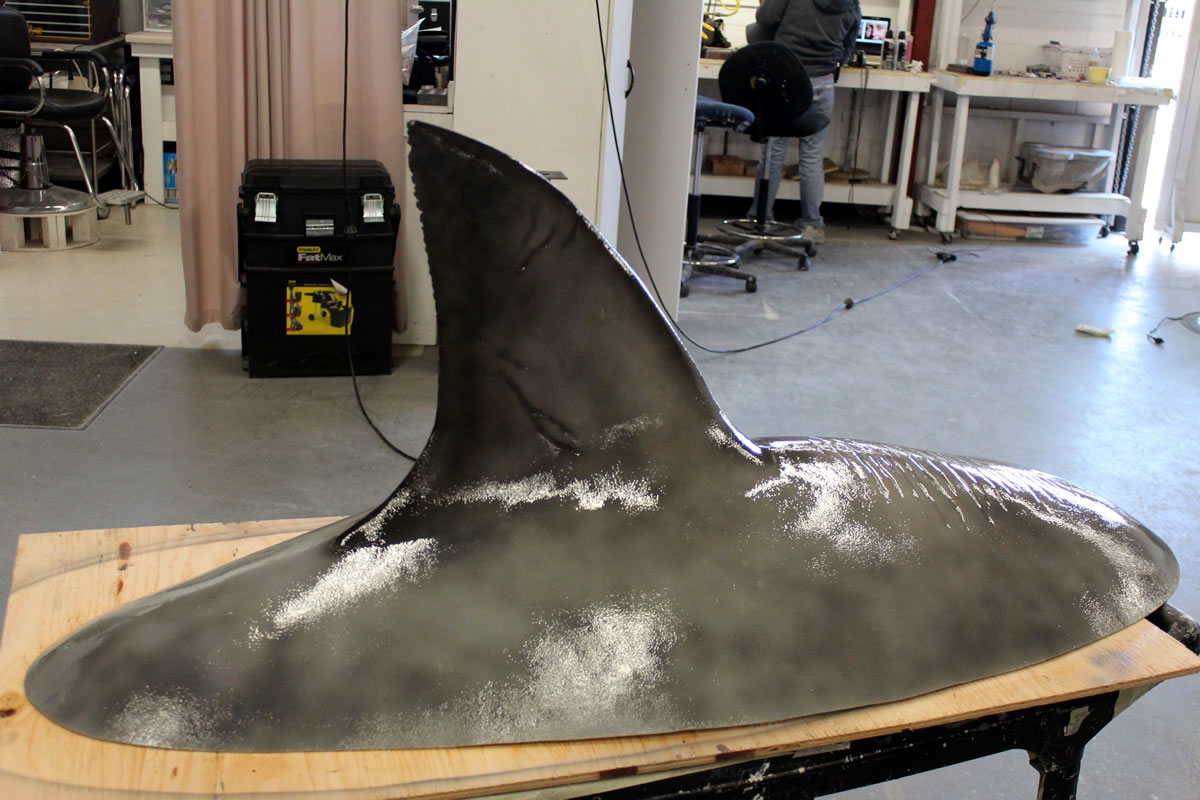 Fiberglass Shark fin for towing in water for 'Shark Week'