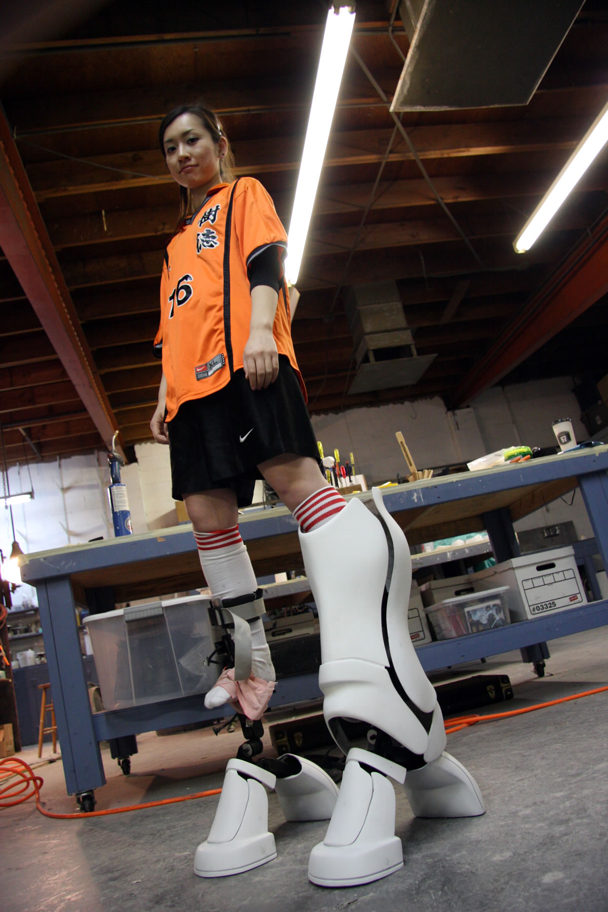 Fiberglass boots for a Japanese commercial