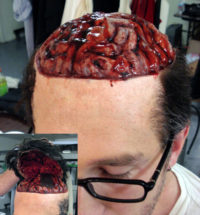 Removable skull cap for exposed brain for the show 'Scream Awards'