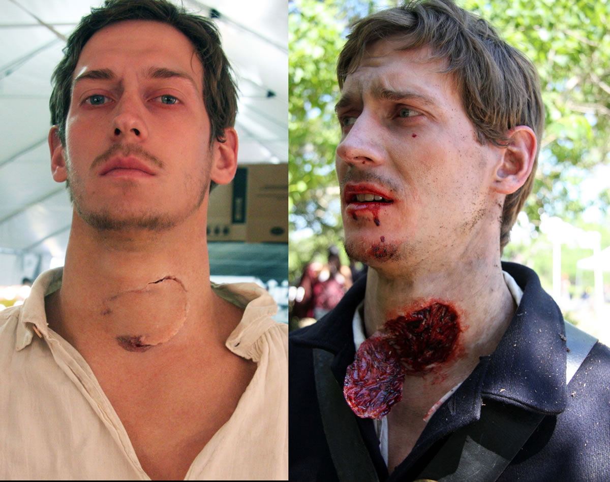 Torn out throat wound for the film 'Abe Lincoln-Vampire Hunter'